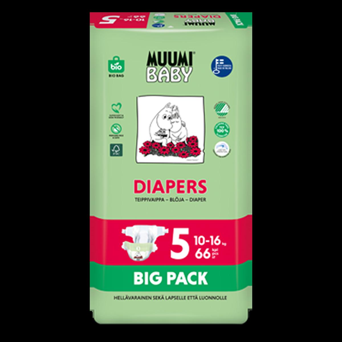 Muumibaby vaippapakkaus_Diapers Nr5 BigPack 66kpl